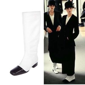 CHANEL White and Black Cap Toe Runway Boots